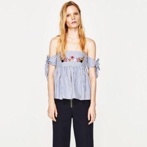 Zara Tank Blue & White Striped Embroidered Flowers